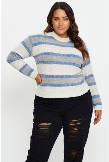 Plus Multi Stripe Pullover Sweater