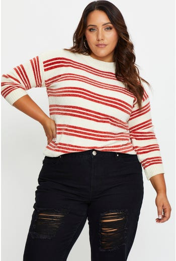 Plus Stripe Pullover Sweater