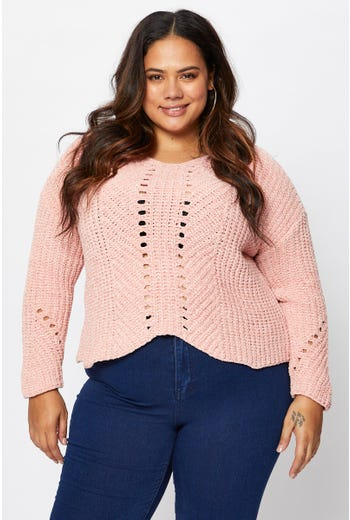 Plus Chenille Knit V-neck Pullover Sweater