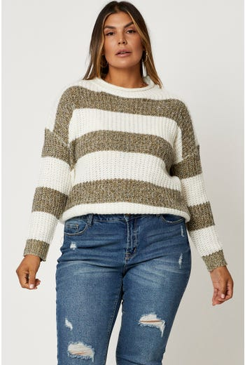 Plus Popcorn Knit Stripe Pullover Sweater