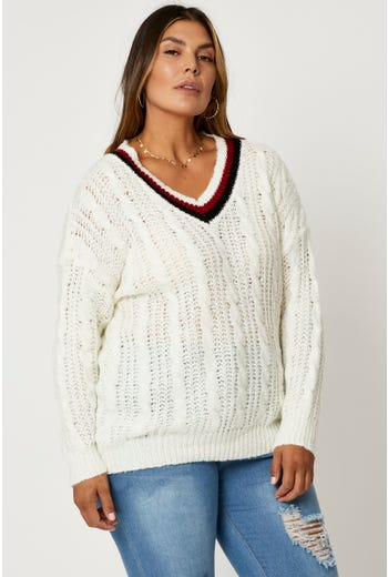 Plus Stripe Neck Cable Knit Pullover Sweater