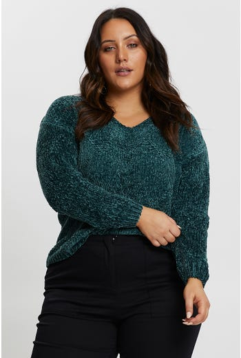 Plus Chenille V Neck Knit