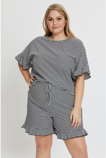 Plus Stripe Frill Sleeve T Shirt And Short Set