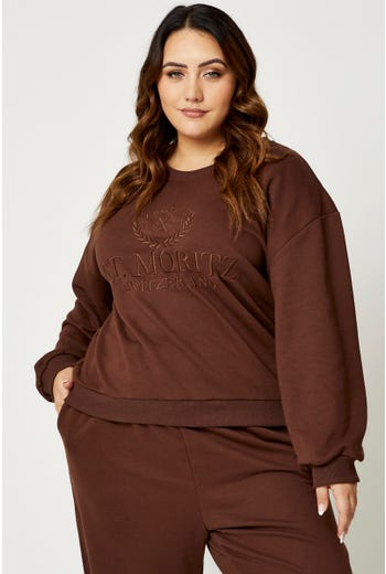 Plus Embroidered Oversized Jumper