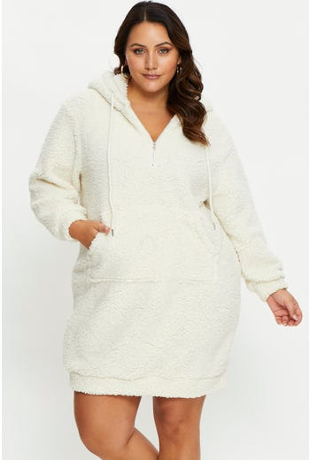 Plus Teddy Hoodie Lounge Dress