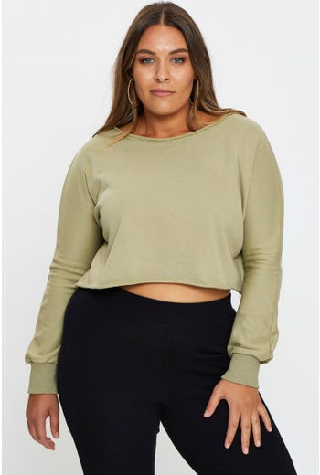 Plus Cropped Sweat Jumper