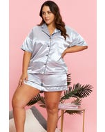 Satin Button Contrast Piping Top And Short Pj Set