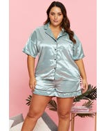 Plus Satin Button Contrast Piping Top And Short Pj
