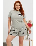 Graphic Frenchie Grey Marle PJ Set