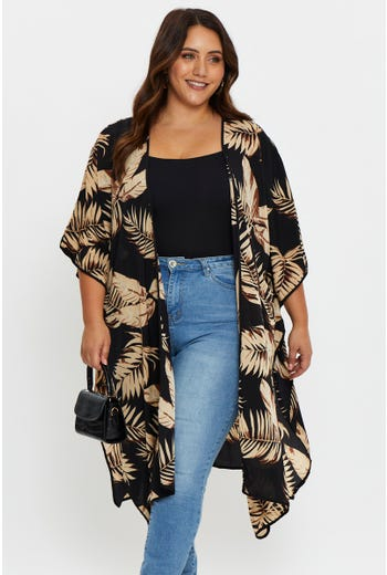 Plus Tropical Print Over-sized Side Slit Kimono