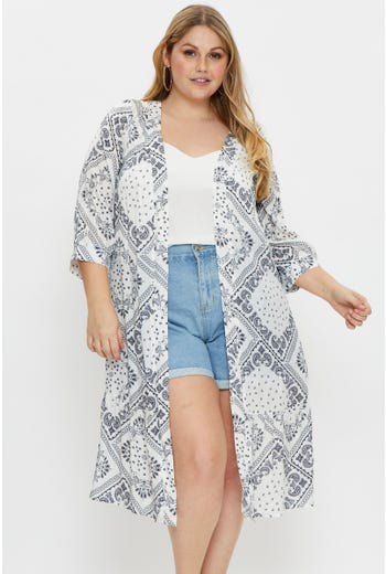 Plus Long Sleeve Midi Length Kimono
