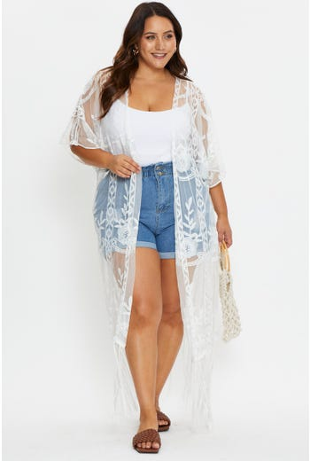 Plus Half Sleeve Embroidered Flower Mesh Kimono