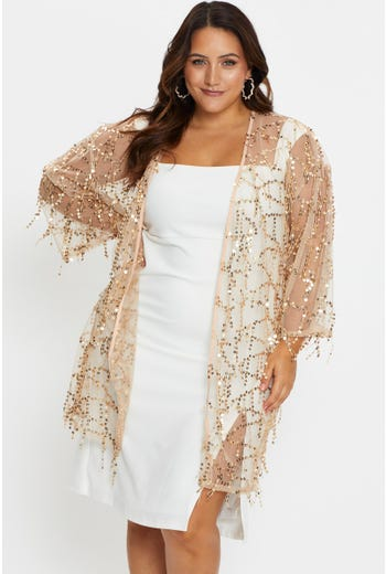 Plus Half Sleeve Mesh Going Out Sequin Kimono