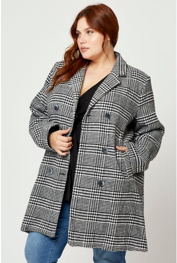 Plus Check Double Breasted Coat