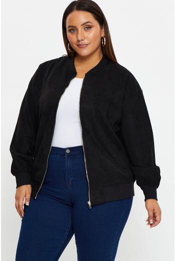 Plus Suede Bomber Jacket
