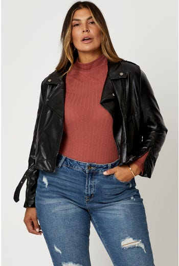 Plus Faux Leather Belted Biker Jacket