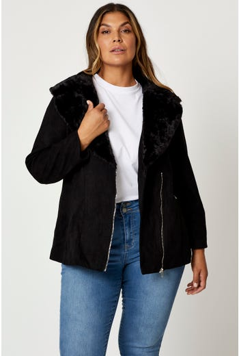Plus Faux Fur Suede Biker Jacket