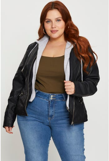 Plus Long Sleeve 2 in 1 Faux Leather Hooded Jacket