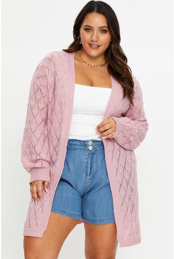 Plus Pointelle Knit Cardigan