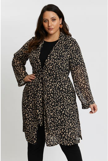 Plus Longline Tab Sleeve Chiffon Coat