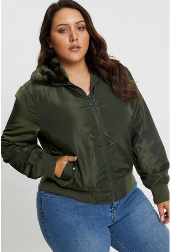 Plus Faux Fur Trim Bomber