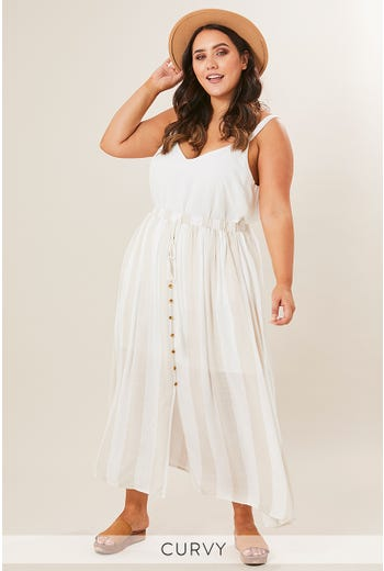 PLUS BUTTON FRONT MAXI SKIRT