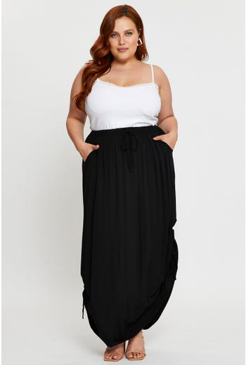 Plus Side Ruched Maxi Skirt