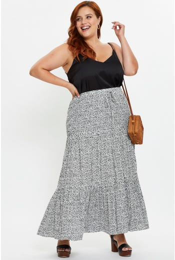 Plus High Waist Geo Print Drawstring Maxi Skirt