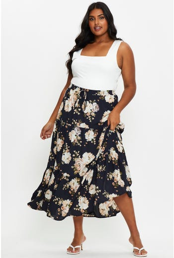 Plus High Waist Floral Print Tiered Maxi Skirt