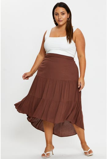 Plus High Waist Tiered Maxi Skirt