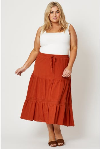 Plus High Waist Linen Blend Drawstring Maxi Skirt