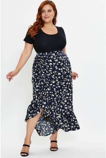 Plus Pulling Detail Maxi Skirt