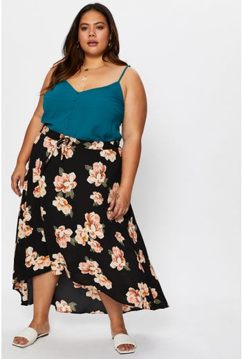 Plus High Waist Floral Print High-Low Maxi Skirt