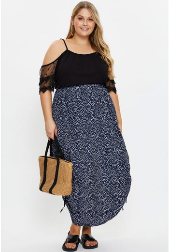 Plus Side Ruched Pencil Skirt