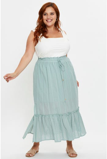 Plus Side Slit Maxi Skirt