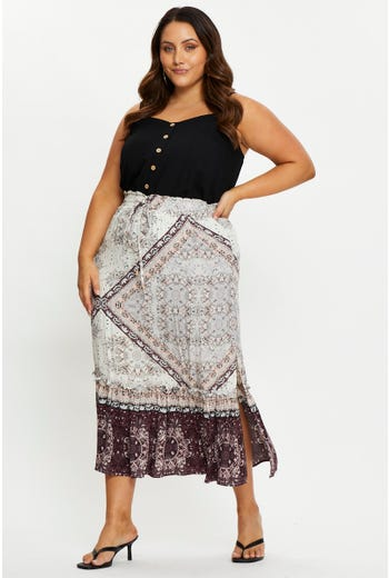 Plus Tiered Maxi Skirt
