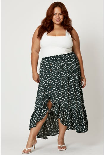 Plus Floral Print Frill Hem High-Low Maxi Skirt
