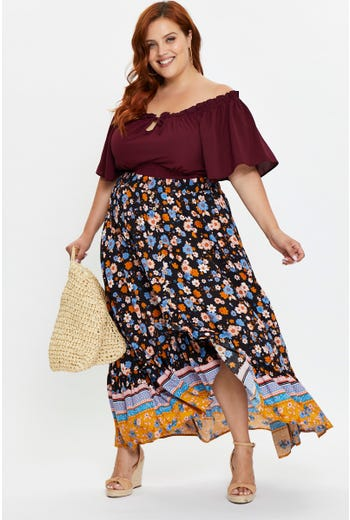Plus High Waist Boho Print Frill Hem Button Detail Skirt