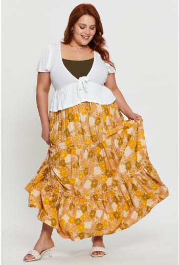 Plus Floral Print Tiered Maxi Skirt