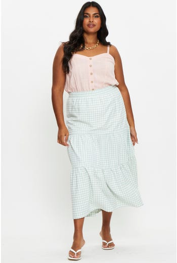 Plus Check Tiered Maxi Skirt