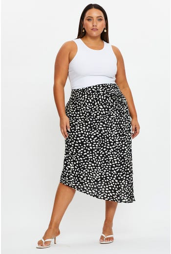 Plus Twist Detail Asymmetrical Wrap Midi Skirt