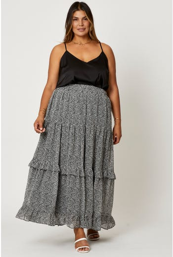 Plus Ruffle Detail Relaxed Maxi Skirt