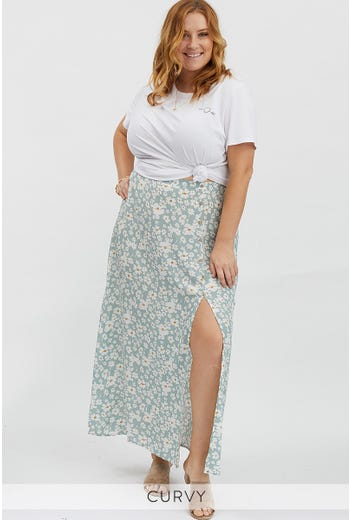 PLUS FLORAL PRINT SIDE SPLIT MAXI SKIRT