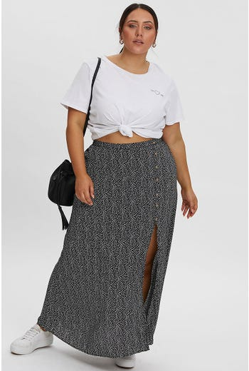 PLUS GEO PRINT SIDE SPLIT MAXI SKIRT