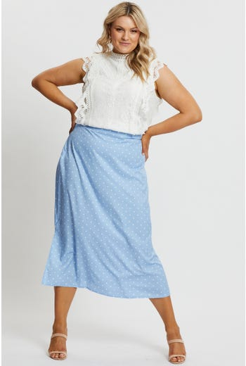 Plus Polka Dot Side Split Midi Skirt