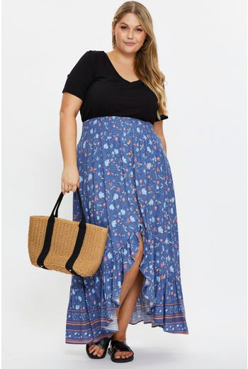 Plus Boho Print Frill Hem High-Low Maxi Skirt