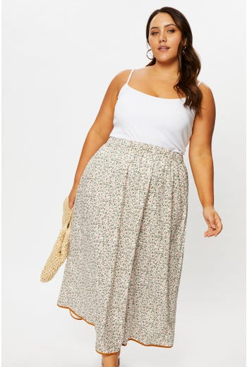 Plus Boho Print Relaxed Maxi Skirt