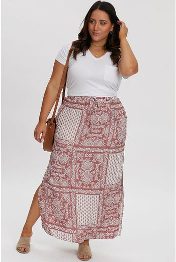 PLUS BOHO PATCHWORK MAXI SKIRT