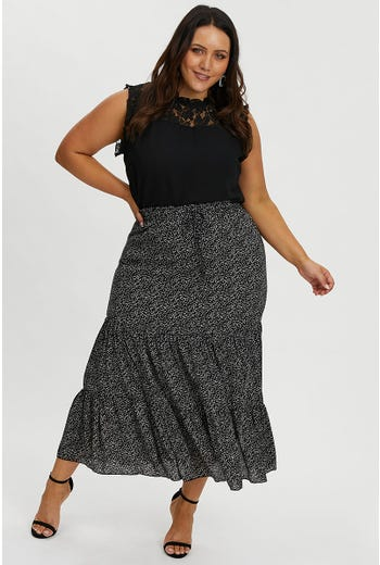 PLUS GEO PRINT TIERED MAXI SKIRT
