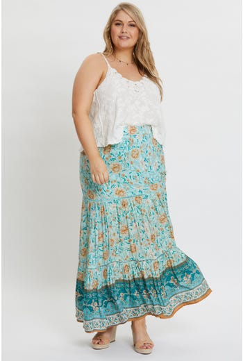 Plus High Waist Boho Print Drawstring Maxi Skirt